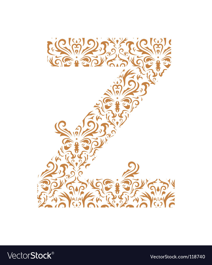 Floral letter z ornament font vector | Price: 1 Credit (USD $1)
