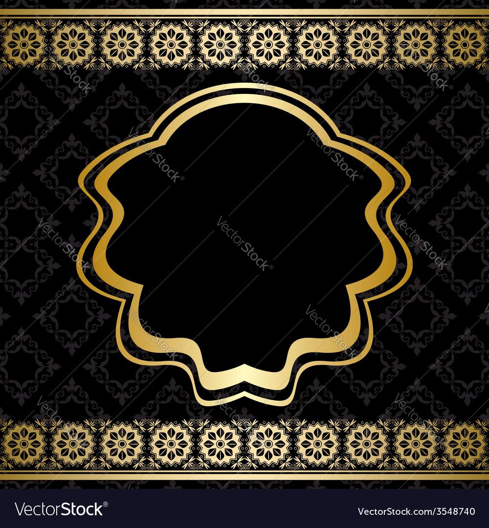 Golden ornament on black background vector | Price: 1 Credit (USD $1)