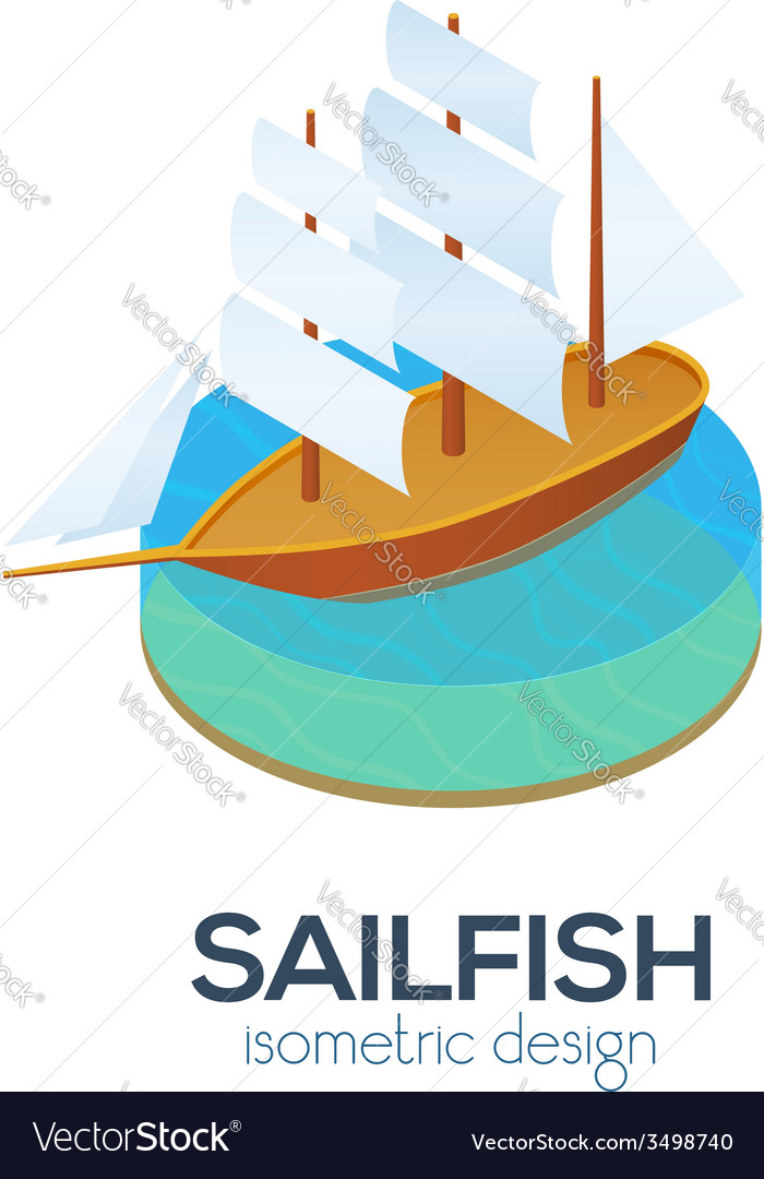 Isometric sailboat icon vector | Price: 1 Credit (USD $1)