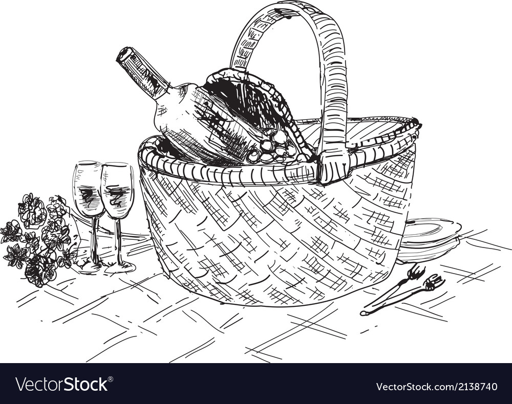 Picnic basket with wine and glasses vector | Price: 1 Credit (USD $1)