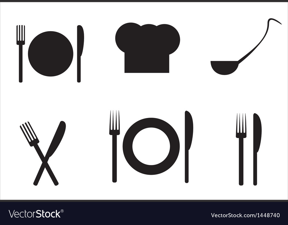 Plateknife a ladleful of soup fork and toque vector | Price: 1 Credit (USD $1)