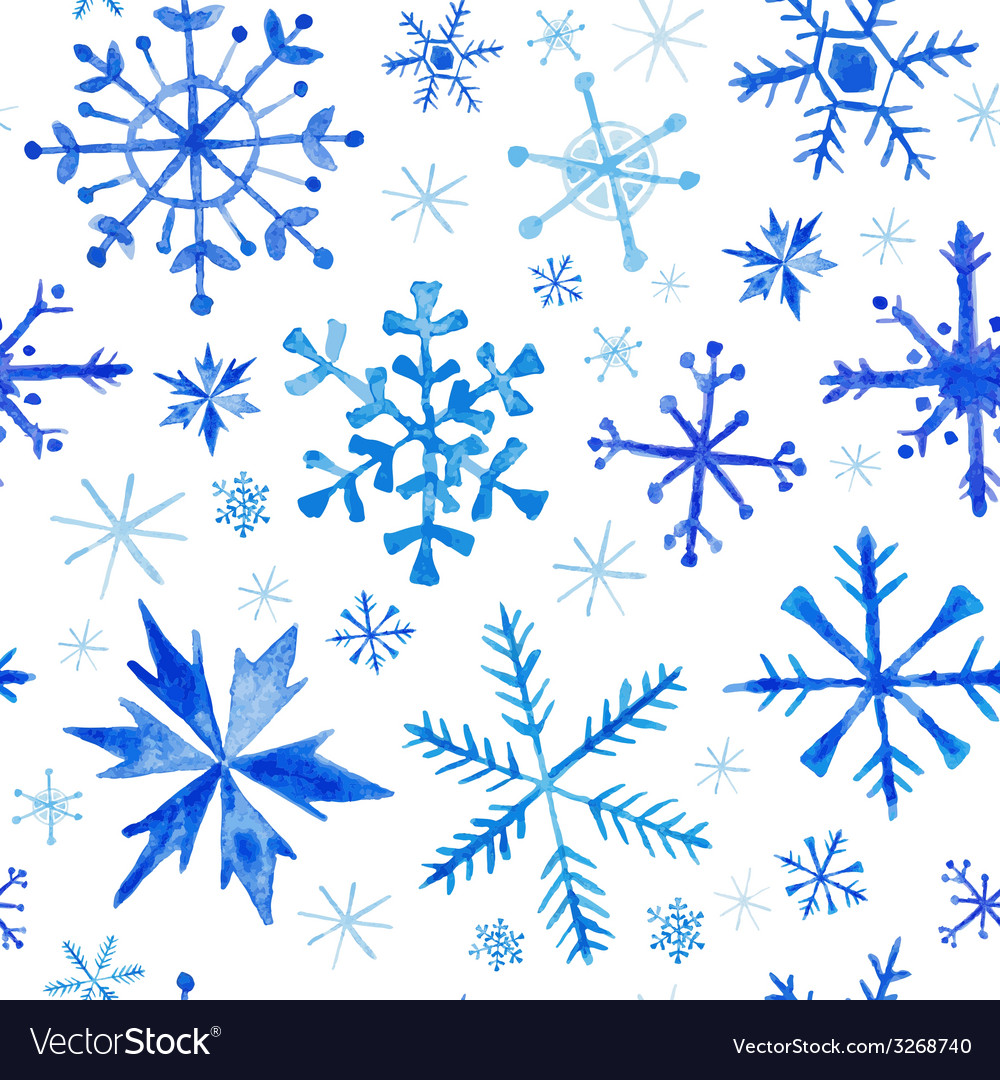 Seamless winter background - snowflakes watercolor vector | Price: 1 Credit (USD $1)