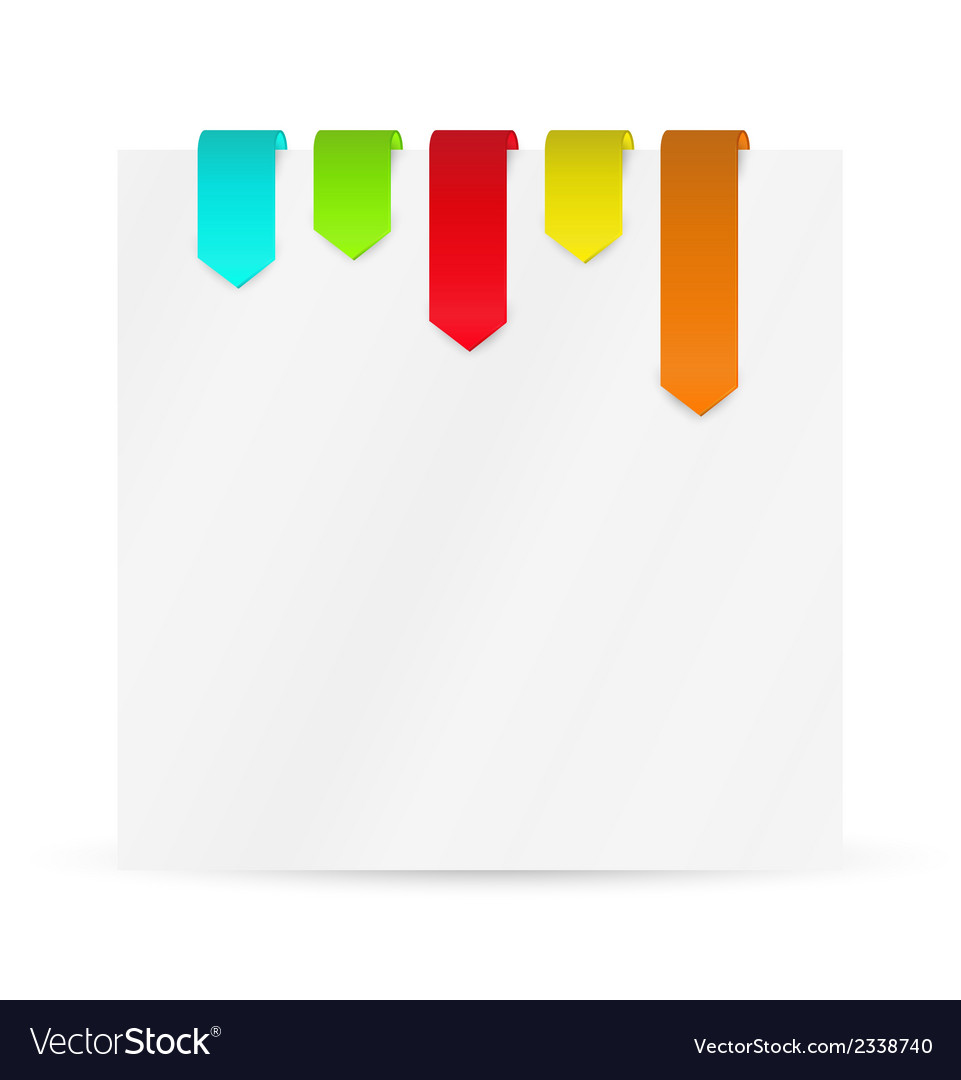Set of color ribbons or bookmarks with blank paper vector   Price: 1 Credit (USD $1)