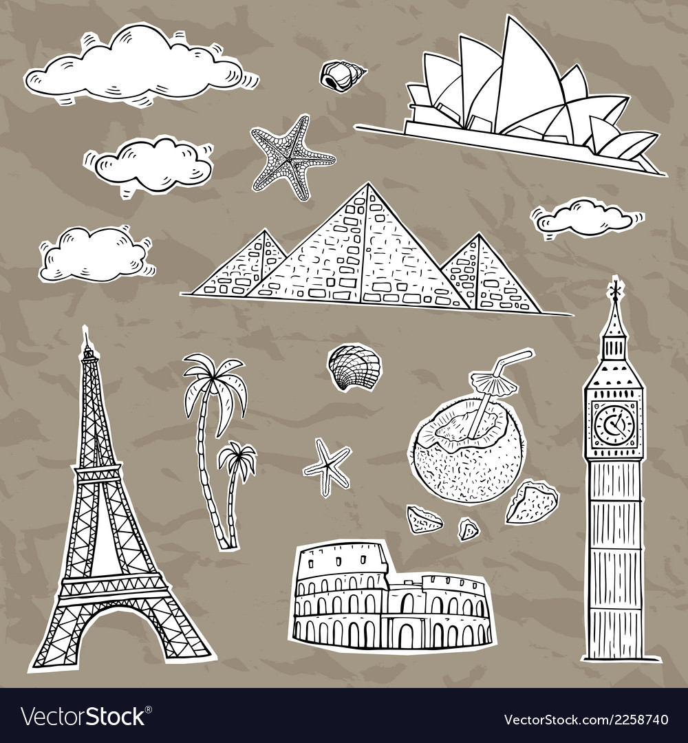 Travel and tourism labels collection vector | Price: 1 Credit (USD $1)