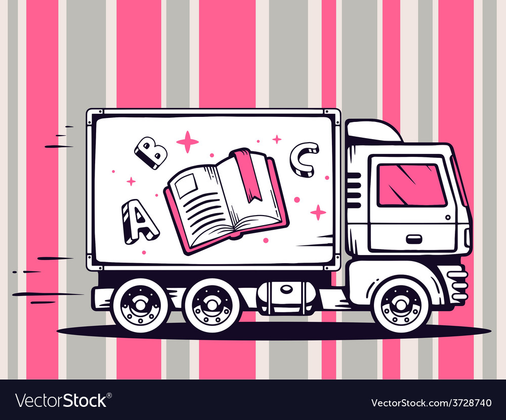 Truck free and fast delivering open book vector | Price: 1 Credit (USD $1)