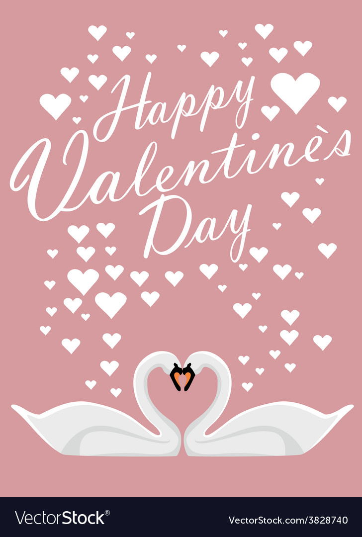 Valentines day background with two loving swans vector | Price: 1 Credit (USD $1)