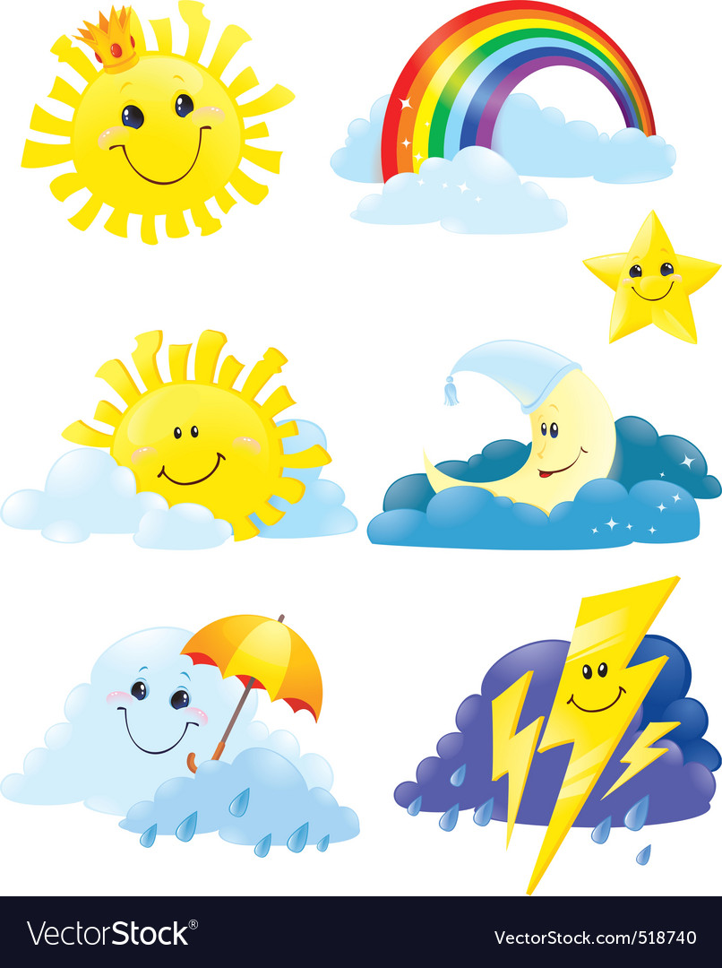 Weather symbols vector | Price: 3 Credit (USD $3)