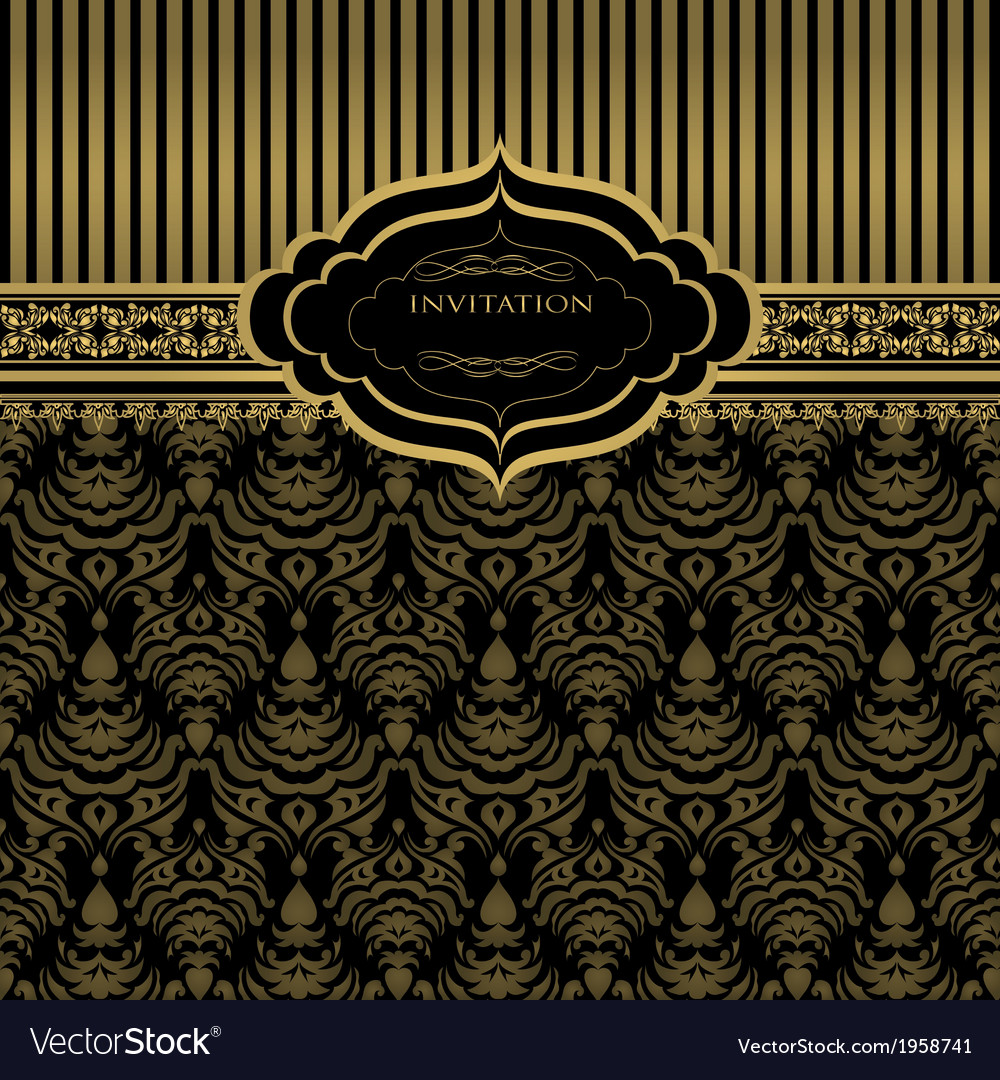 Abstract gold floral invitation background vector | Price: 1 Credit (USD $1)