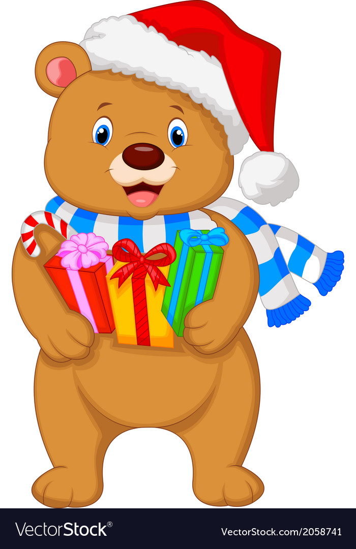 Bear cartoon holding gifts vector | Price: 1 Credit (USD $1)