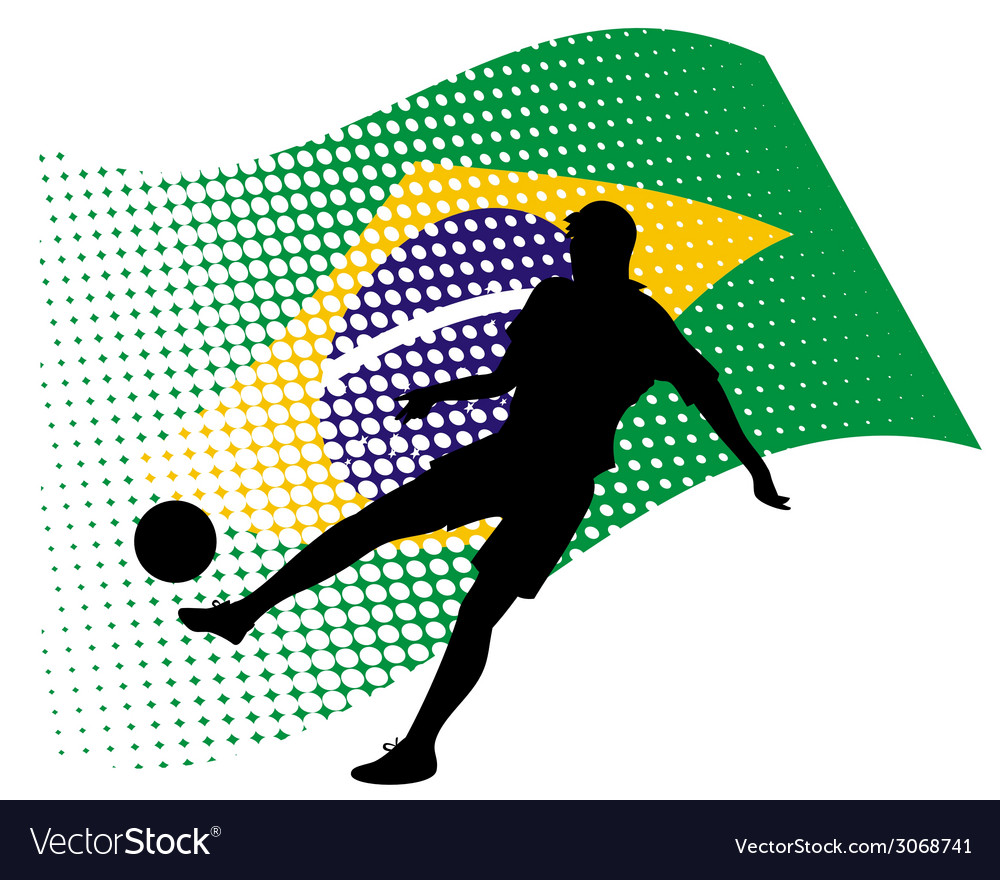 Brasil soccer player against national flag vector | Price: 1 Credit (USD $1)