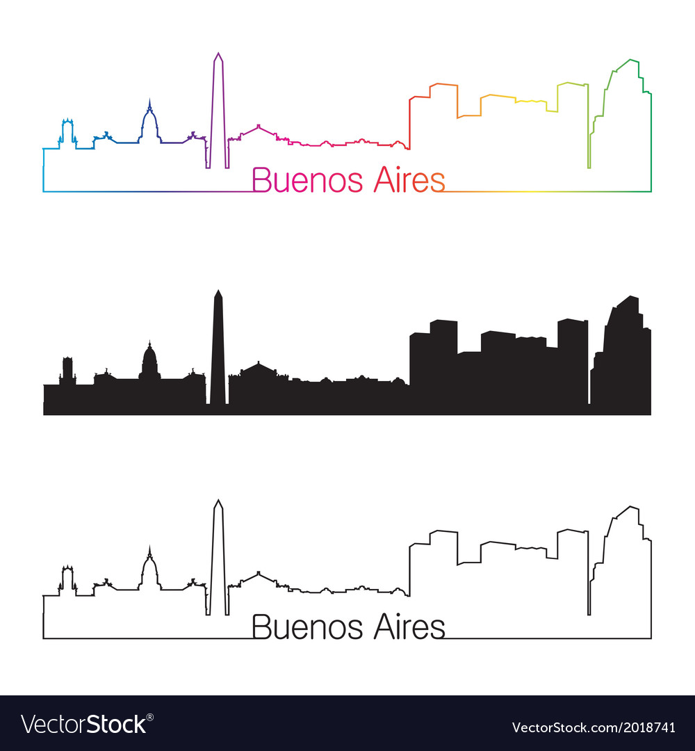Buenos aires skyline linear style with rainbow vector | Price: 1 Credit (USD $1)