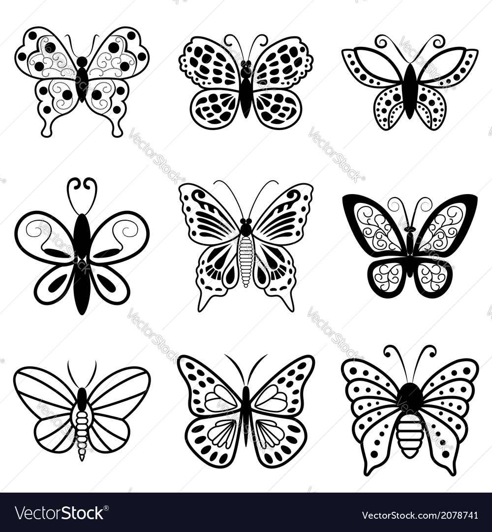 Butterflies black silhouettes on white background vector | Price: 1 Credit (USD $1)