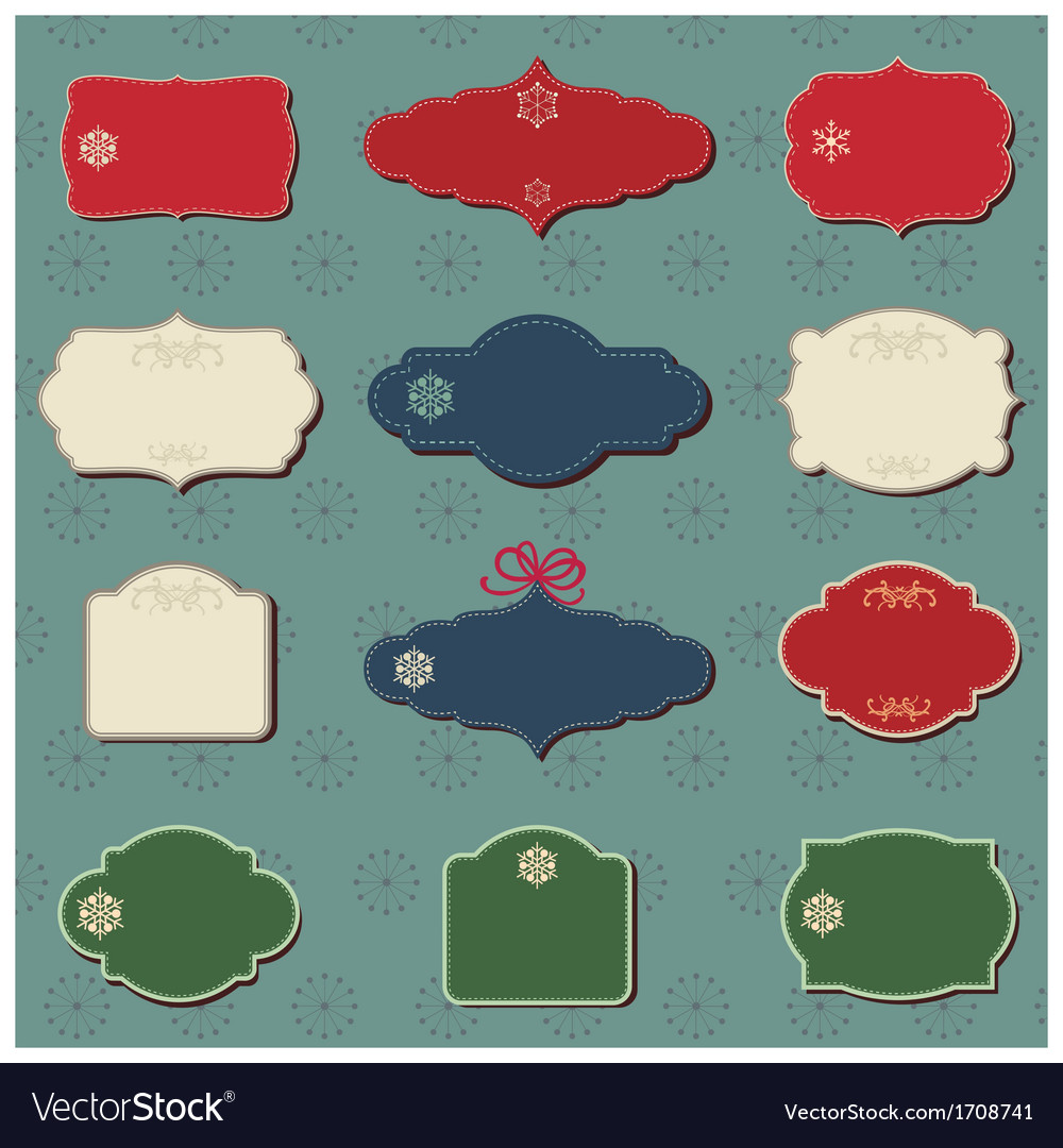 Christmas colored labels vector | Price: 1 Credit (USD $1)