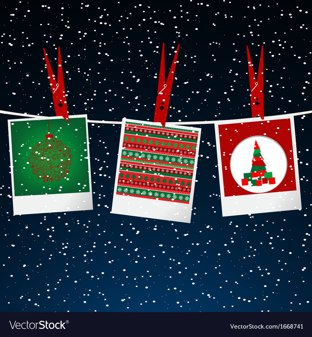 Christmas with photo frame with pegs over snowing vector | Price: 1 Credit (USD $1)