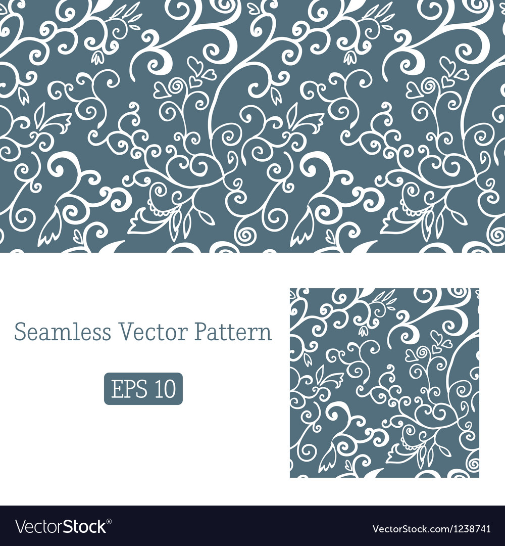 Excellent seamless floral pattern white and blue vector | Price: 1 Credit (USD $1)