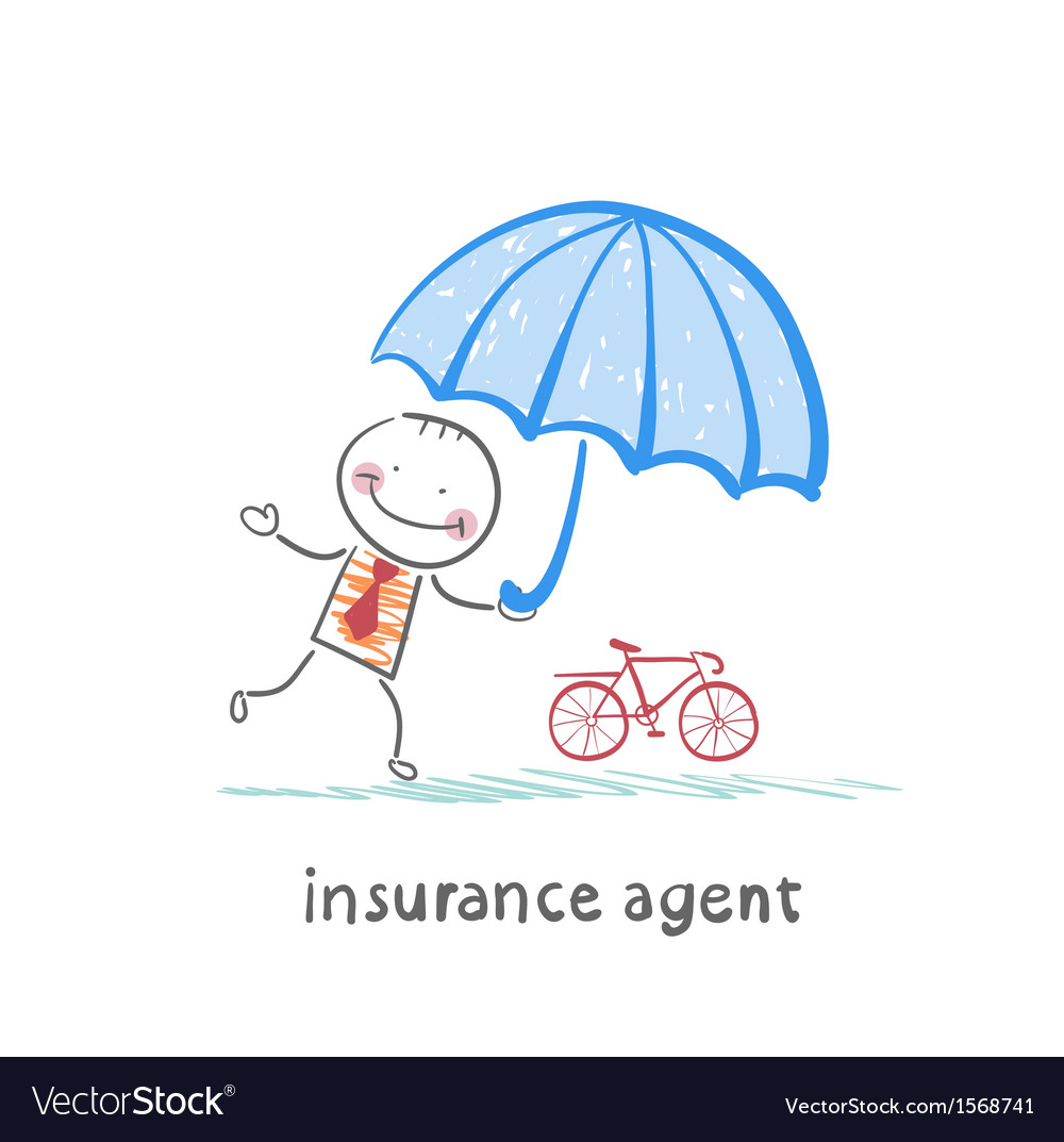 Insurance agent protects bike umbrella vector | Price: 1 Credit (USD $1)