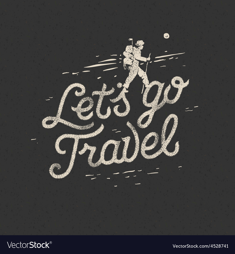 Lets go travel hiker with backpack crossing rocky vector