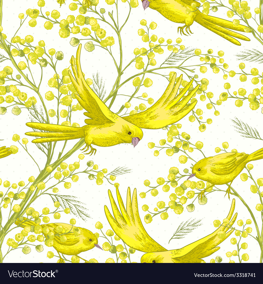 Seamless pattern with sprig of mimosa vector | Price: 1 Credit (USD $1)