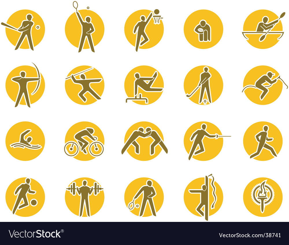 Summer sports icon set vector | Price: 1 Credit (USD $1)