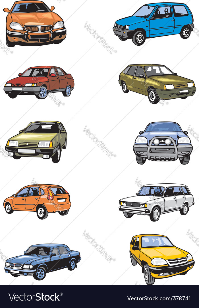 Ten passenger cars vector | Price: 1 Credit (USD $1)