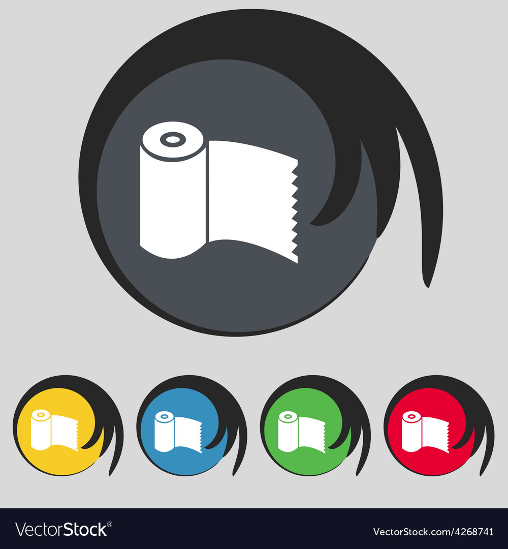 Toilet paper wc roll icon sign symbol on five vector | Price: 1 Credit (USD $1)