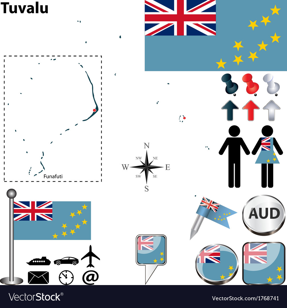 Tuvalu map vector | Price: 1 Credit (USD $1)