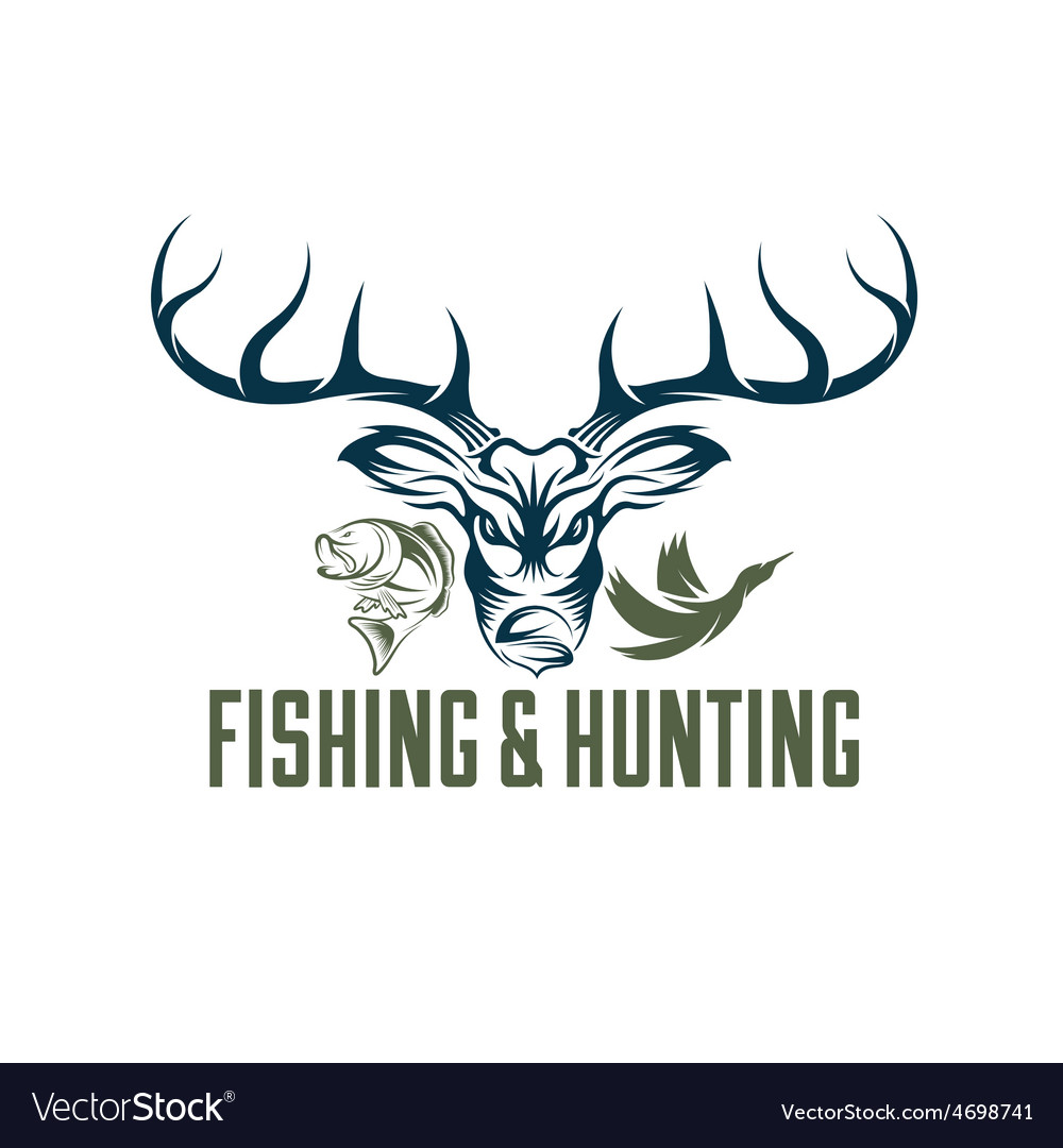Vintage hunting and fishing design template vector | Price: 1 Credit (USD $1)