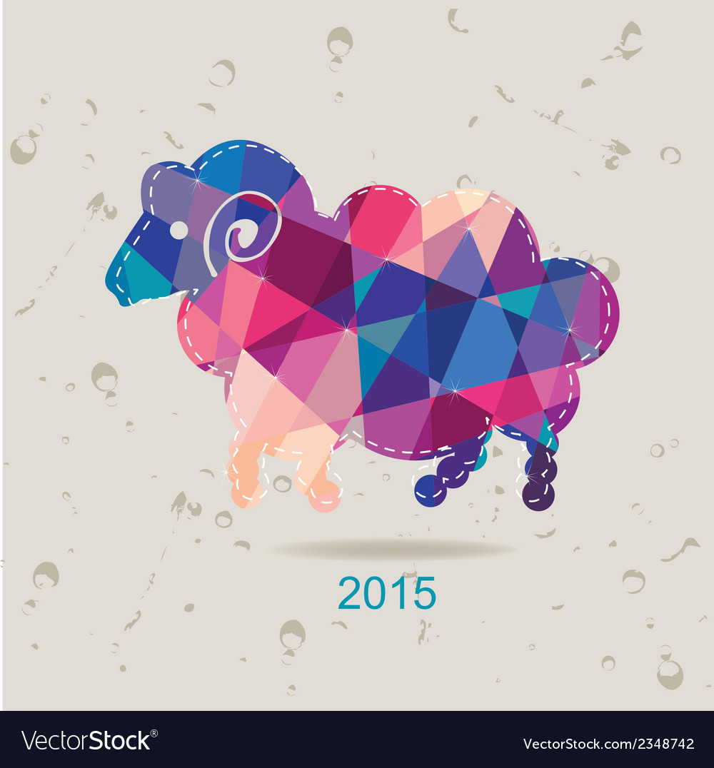 2015 new year card with sheep made of triangles vector | Price: 1 Credit (USD $1)