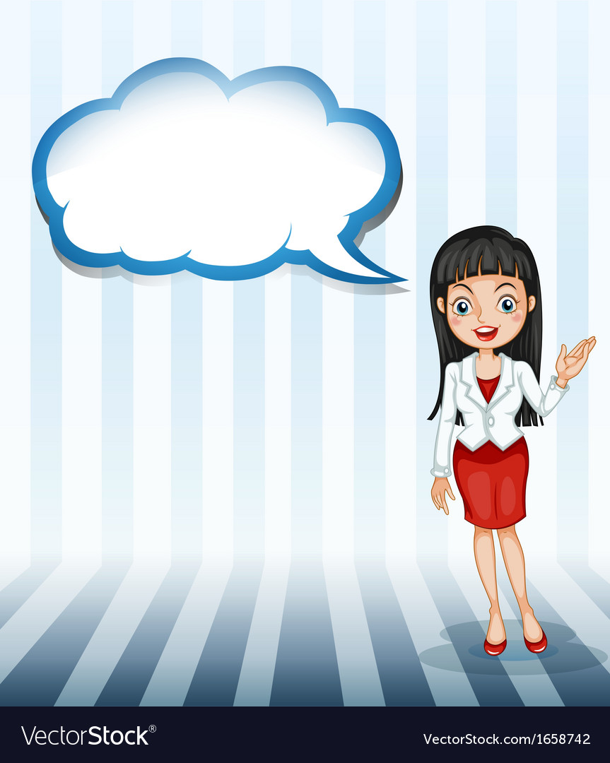 A girl talking with an empty cloud template vector | Price: 3 Credit (USD $3)
