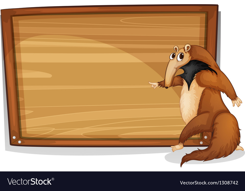A wild animal beside an empty wooden board vector | Price: 1 Credit (USD $1)