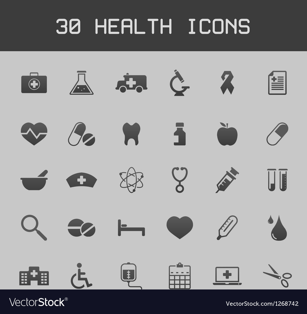Dark healthy and medicare icon set vector | Price: 1 Credit (USD $1)