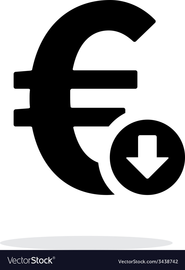 Euro exchange rate down icon on white background vector | Price: 1 Credit (USD $1)