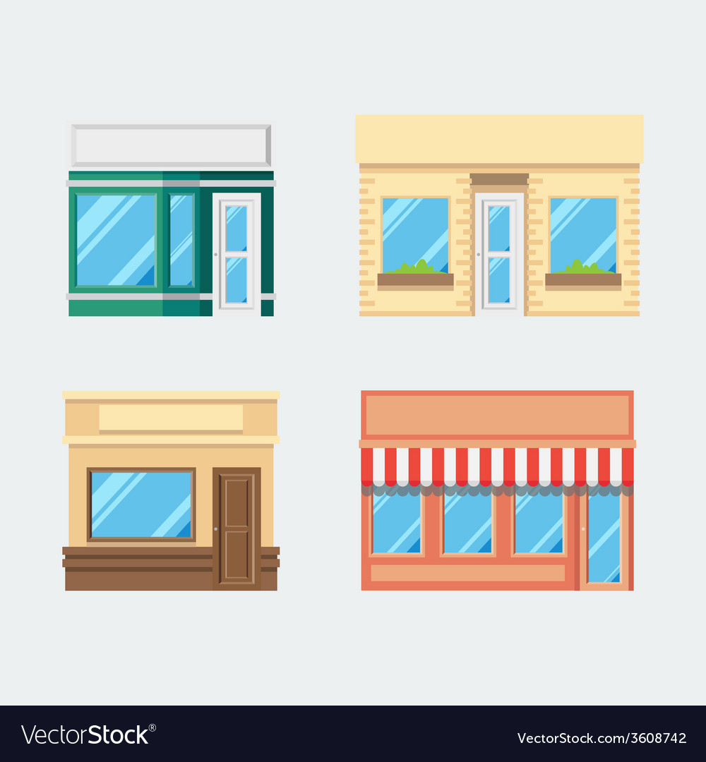 Flat design of front shop set vector | Price: 1 Credit (USD $1)