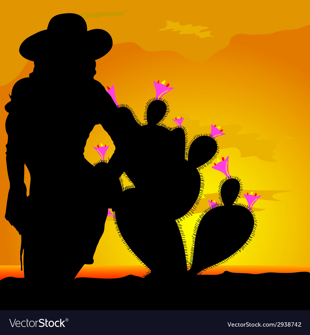 Girl silhouette in desert with cactus part one vector | Price: 1 Credit (USD $1)