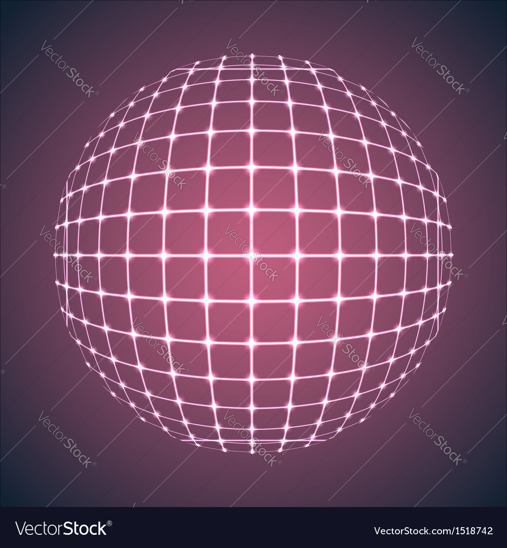 Illuminated purple mesh sphere vector | Price: 1 Credit (USD $1)