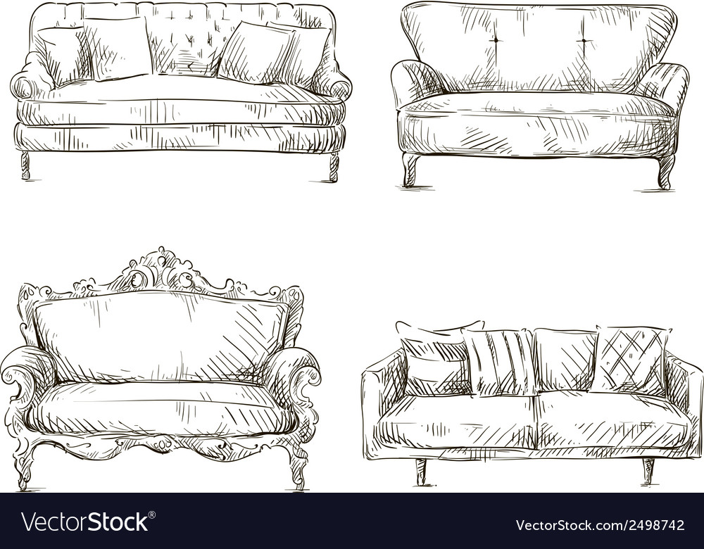 Set of sofas drawings sketch style vector | Price: 1 Credit (USD $1)