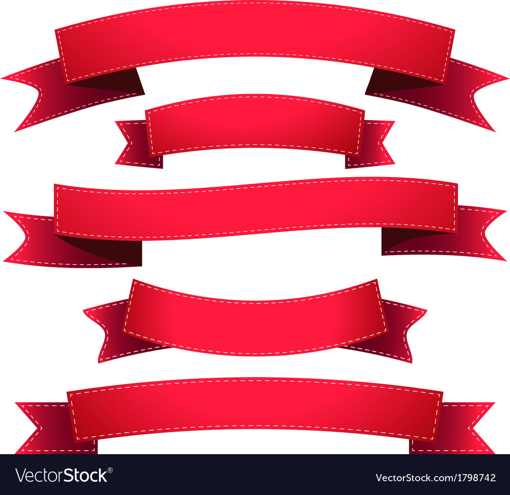 Set ribbon red vector | Price: 1 Credit (USD $1)