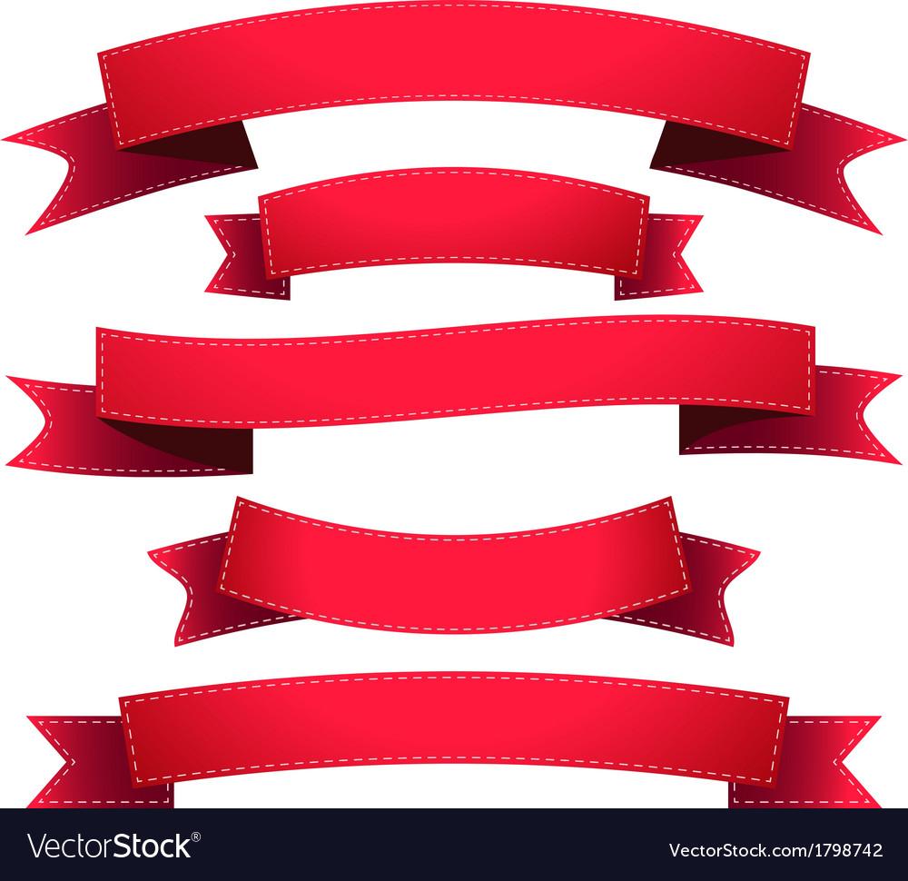 Set ribbon red vector | Price: 1 Credit (USD $1)