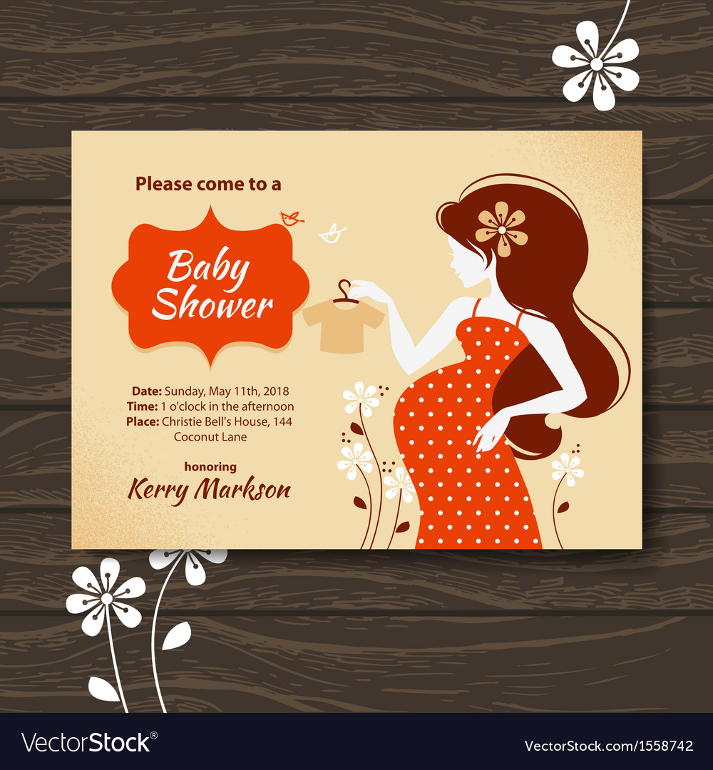 Vintage baby shower invitation vector | Price: 1 Credit (USD $1)