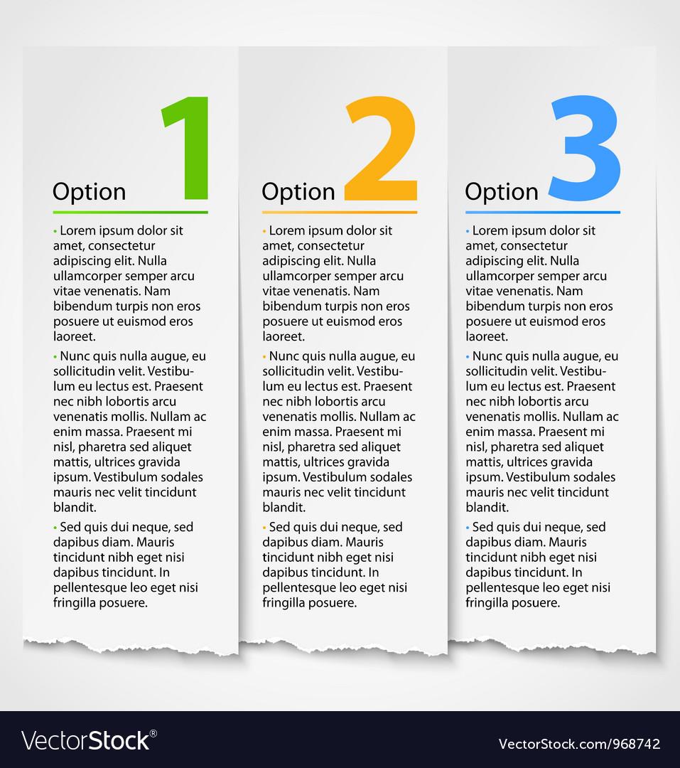 White torn paper progress option label background vector | Price: 1 Credit (USD $1)
