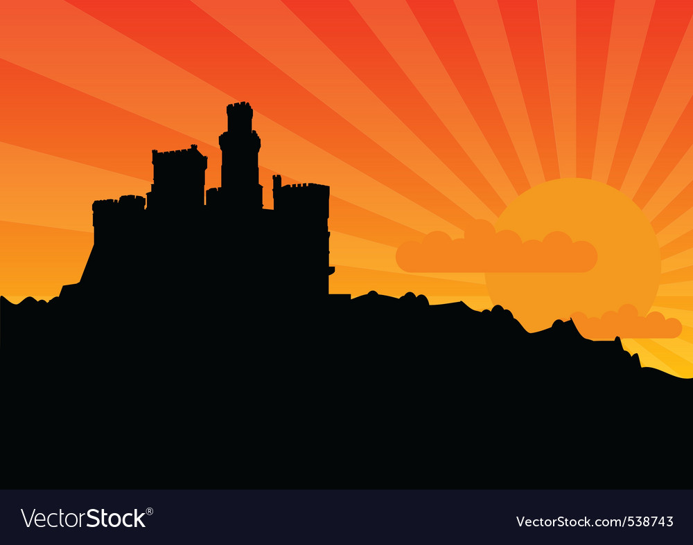 Black silhouette of the castle by sunrise vector | Price: 1 Credit (USD $1)