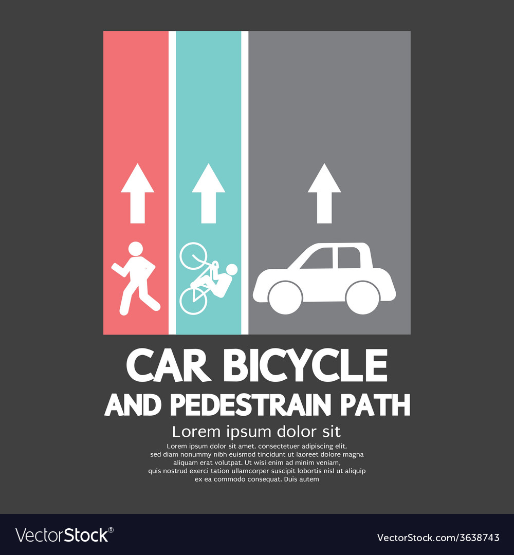 Car bicycle and pedestrian path vector | Price: 1 Credit (USD $1)