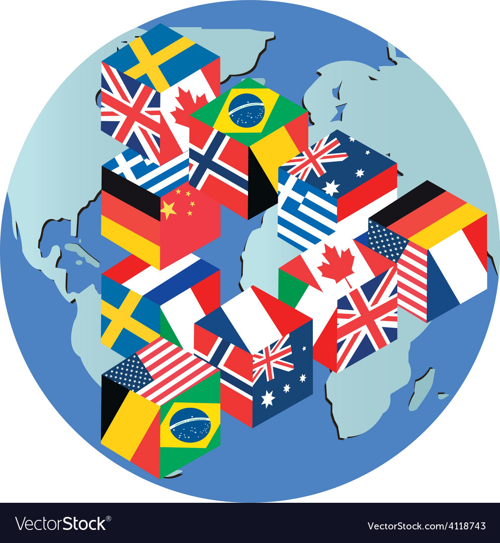 Flags globe vector | Price: 1 Credit (USD $1)