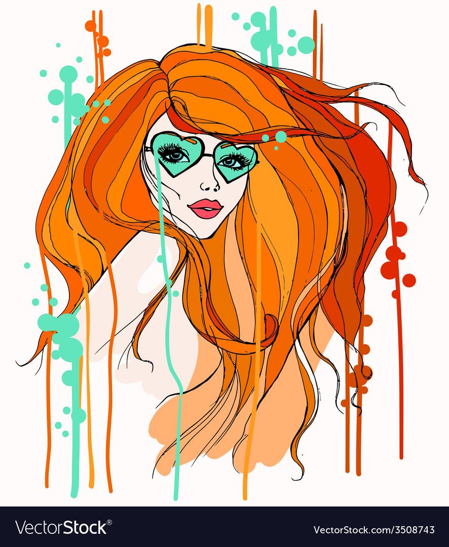 Girl in glasses vector | Price: 1 Credit (USD $1)