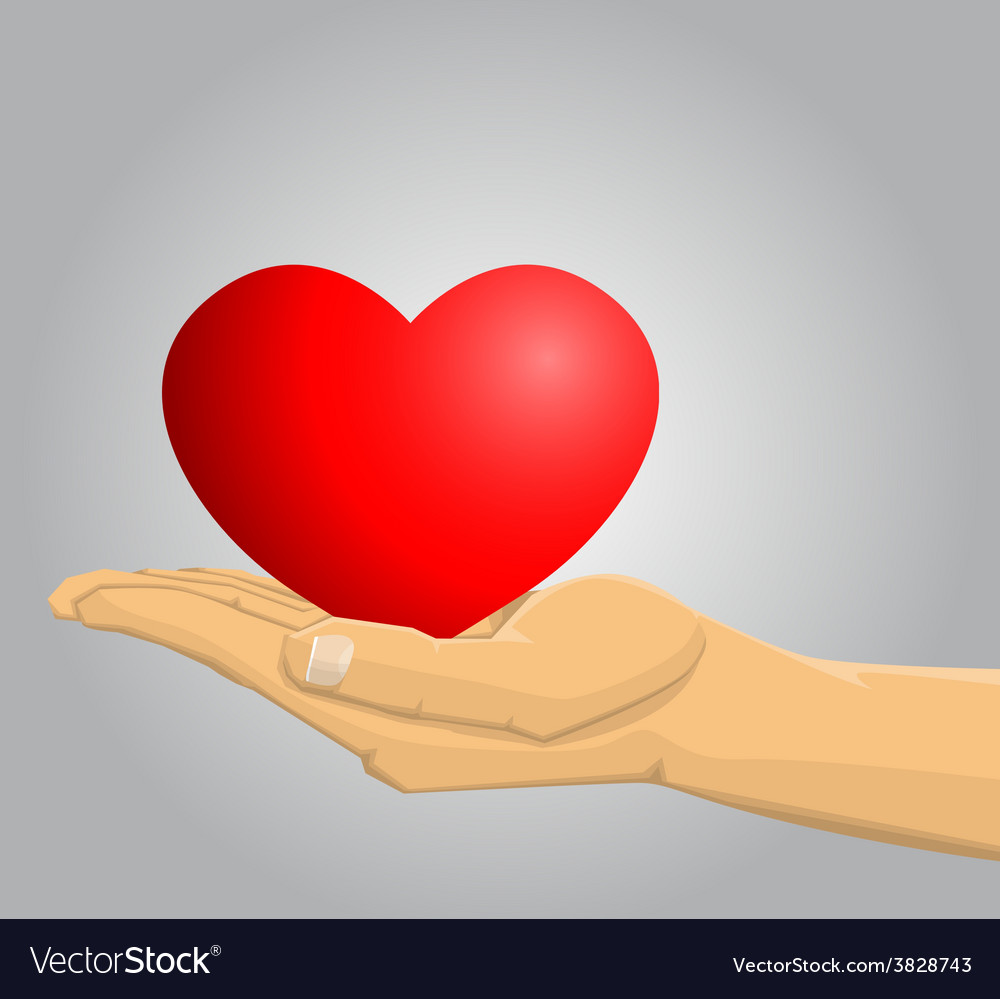 Hand holding a red heart vector   Price: 1 Credit (USD $1)