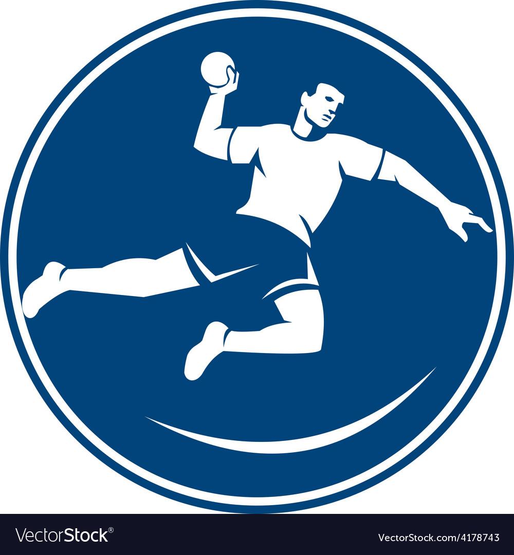 Handball player jumping throwing ball icon vector | Price: 1 Credit (USD $1)