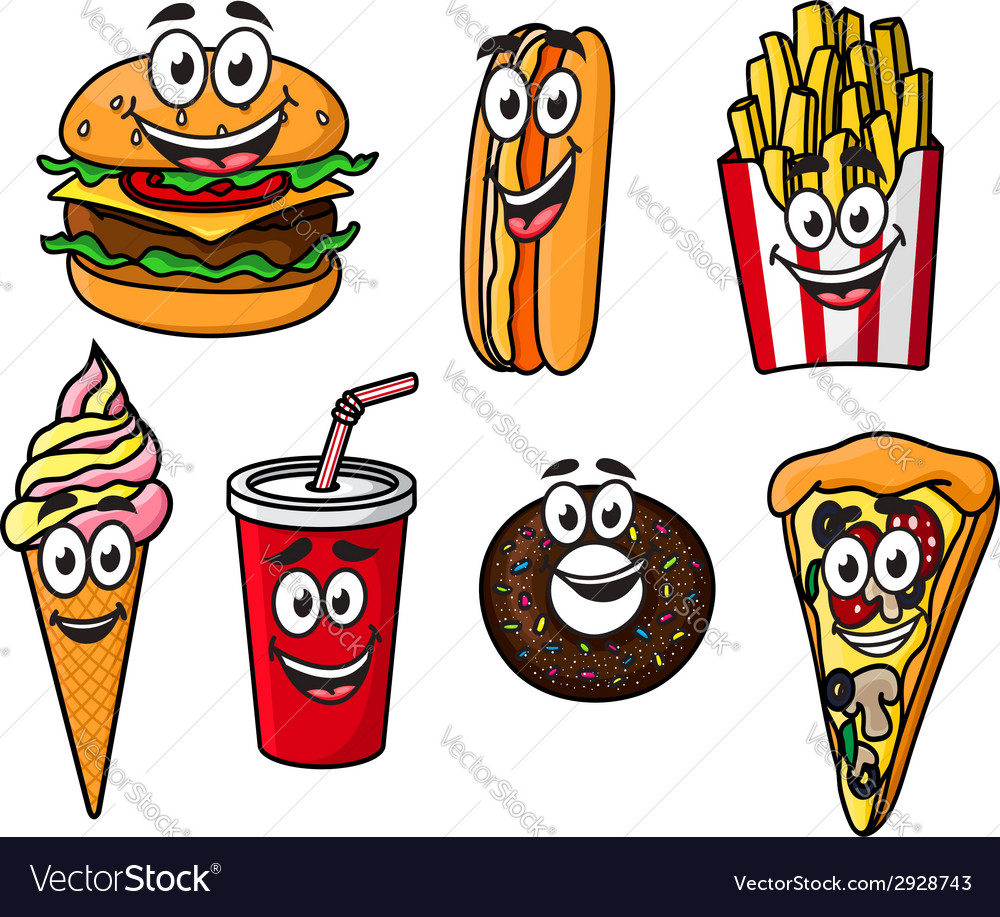 Happy colorful takeaway cartoon food vector | Price: 1 Credit (USD $1)