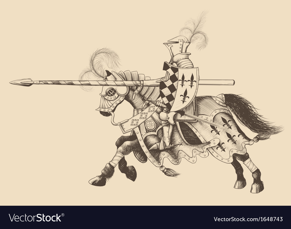 Horseback knight of the tournament vector | Price: 3 Credit (USD $3)