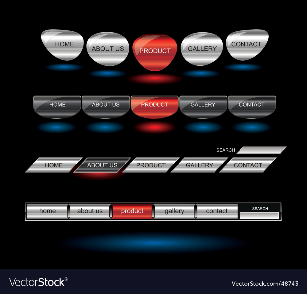 Metallic editable website buttons vector | Price: 1 Credit (USD $1)