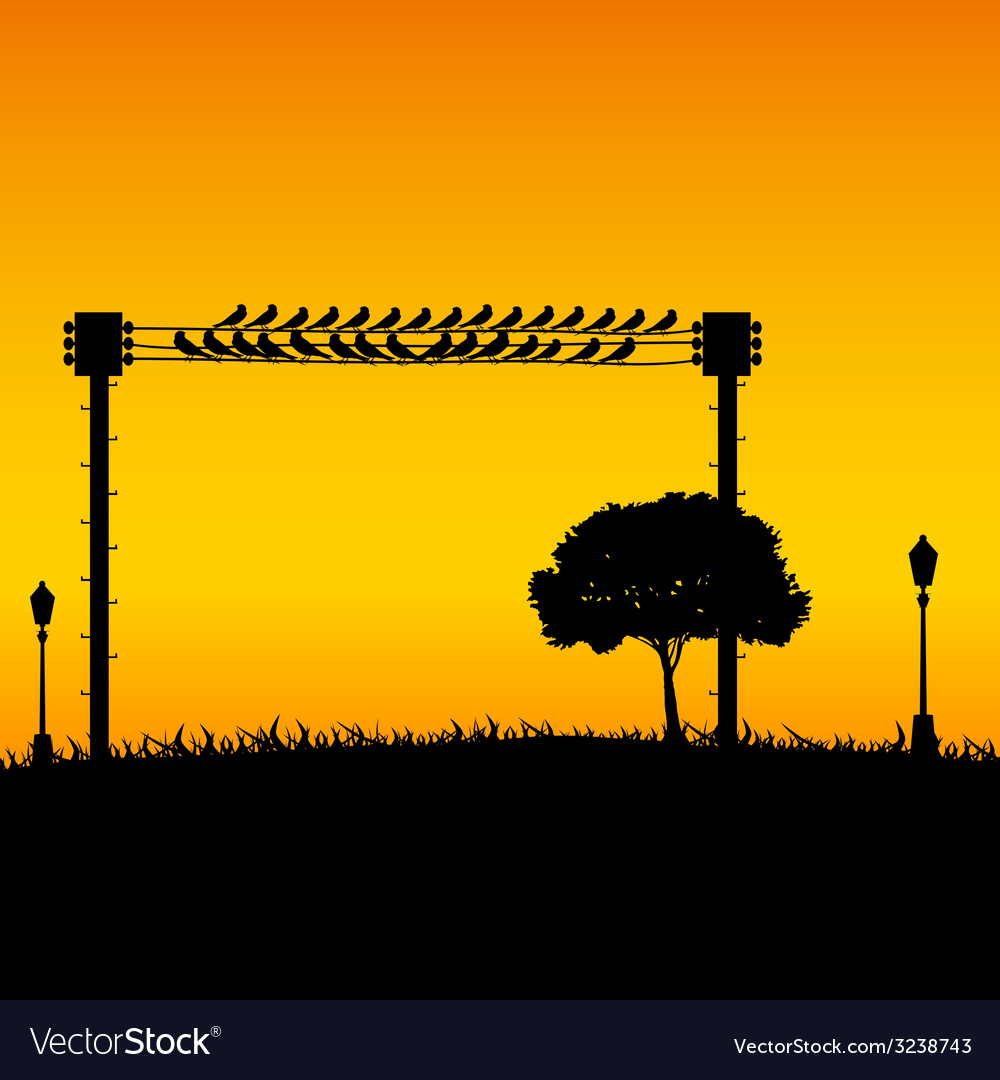 Nature with sparrow and street lights color vector | Price: 1 Credit (USD $1)